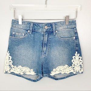 BDG High Rise Erin Lace Denim 5 pocket Shorts